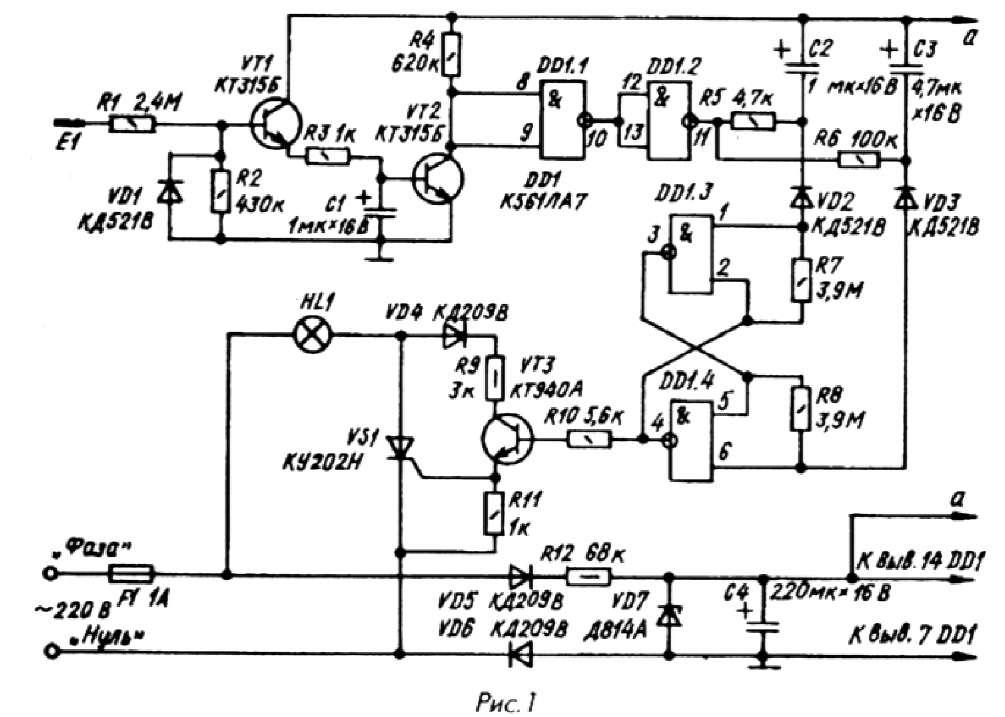 В схему сенсорного выключателя