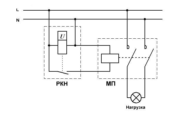 Работает такая схема аналогично описанной выше.  Разница только в том, что реле контроля напряжения включает и...