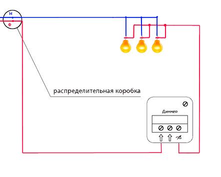 Приведенная выше схема - типичная при использовании и подключении любого вида диммеров.